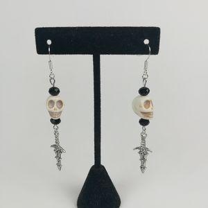 Skull & dagger earrings with black faceted beads